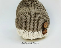 READY TO SHIP Baby Boy Beanie, Newborn knitted Hat with Wood Buttons, Light Brown and Cream  Soft Cotton Newborn Beanie, Newborn Photo Prop.