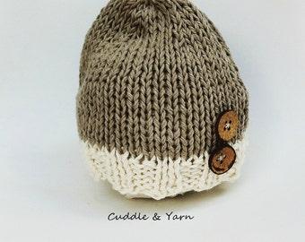 Baby Boy Beanie, Slouchy Newborn knitted Hat with Wood Buttons, Light Brown and Cream  Soft Cotton Newborn Beanie, Newborn Photo Prop.