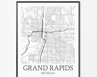 Grand Rapids map print Grand Rapids print Grand Rapids city