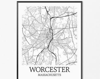 Worcester Map Art Print, Worcester Poster Map of Worcester Decor, Worcester City Map Art, Worcester Gift, Worcester Massachusetts Art Poster