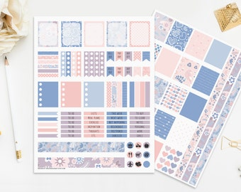 Rose Quartz and Serenity Printable Planner Stickers Blue Pink Color Of The Year Digital Planners Instant Download Pastel Print Cut Pastel