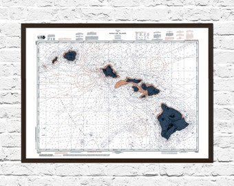Hawaii, Hawaii Art, Hawaii Print, Art, Hawaii Art, Map Art, Hawaii, Poster, Hawaii Poster