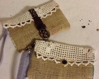 Recycled Burlap Lace & Belt Wristlet Handbag