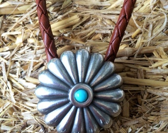 "The ""Desert Rose"" Handmade Turquiose Flower Leather Bolo Tie"