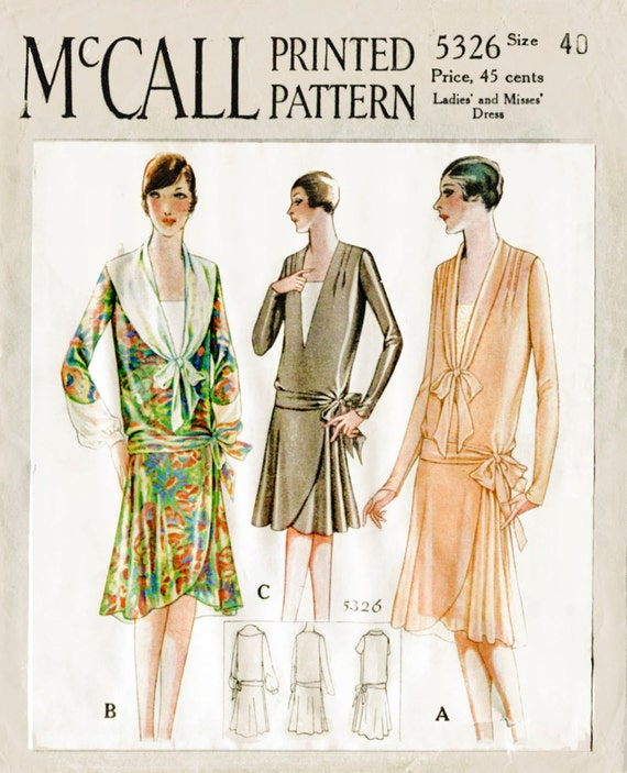 1920s 20s 1928 vintage sewing pattern flapper day dress tie