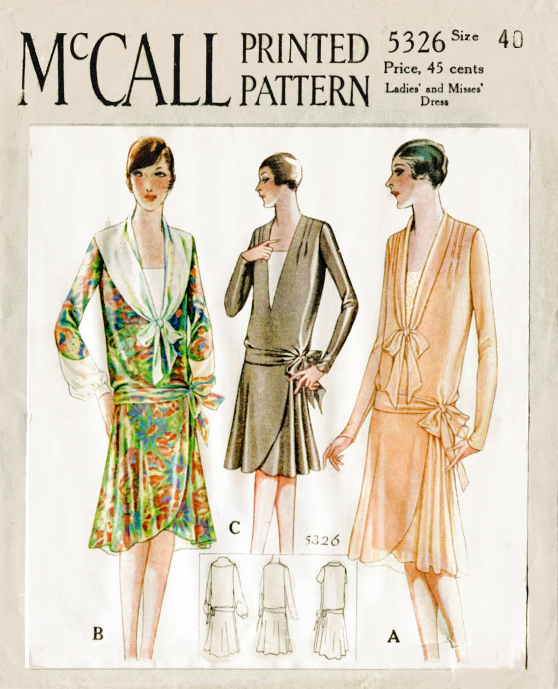 1920s 20s 1928 vintage sewing pattern flapper day dress tie