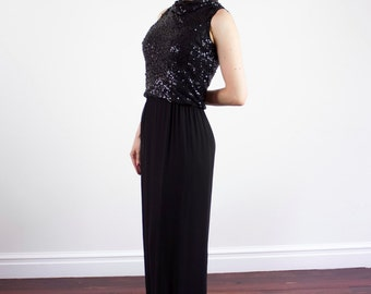 Vintage 1950s Black Sequinned Gown / SILK Chiffon / Hollywood Glamour / XS / S