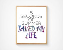 SALE! Five Seconds Of Summer, 5SOS Instant Download, Home Printable Digital Wall Art, Music Water color Print. Music / Band Poster.