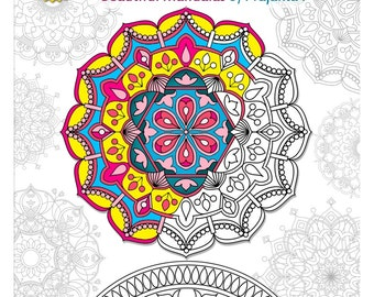 Printable Adult Coloring Book Download Yoga Meditation Doodles Mandalas Stress Relieving
