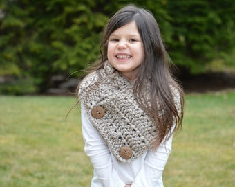 Crochet Cowl. Button Scarf in Taupe. One size Child-Adult.
