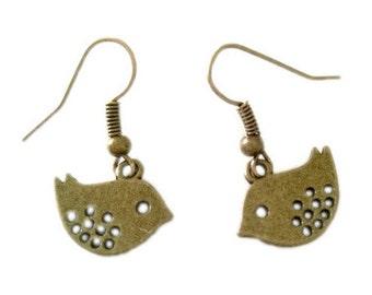 Antique Bronze Plated Small Robin/Bird Threader Earrings