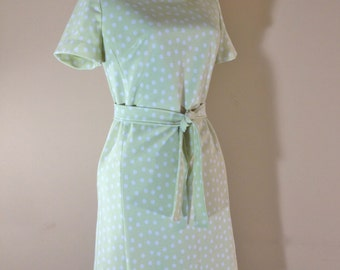 Vintage Mod 1960s Polyester Lime Polka Dot Shift Dress Womens Size 10
