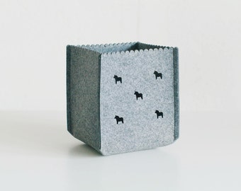 "Square Storage Basket / Felt Storage Bin  / Scandinavian decor / Nursery Storage / Household Storage / Felt box 8""x 8""x 8"""