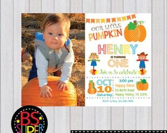 Pumpkin Patch Birthday Invitation, Pumpkin Birthday Party, Pumpkin 1st Birthday Invitation, Fall Birthday Invitation