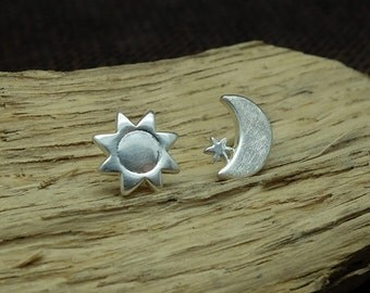 Stud Earrings 'Sun, Moon + Star' Silver, Silver Ear Studs, Romantic Jewelry