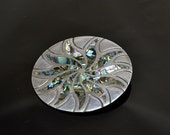 "Taxco Sterling Brooch Pendant - Abalone Shell Inlay - Bold Spiral Sun -  2 1/4"" Diameter Sterling Silver Statement"