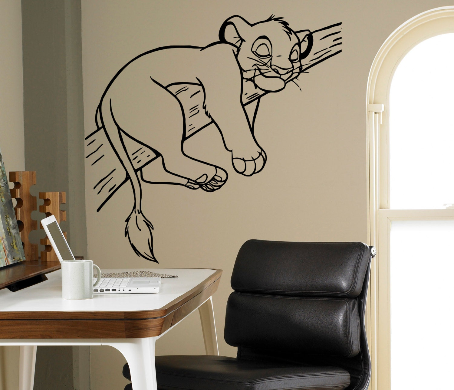simba lion king wall vinyl decal disney cartoons wall sticker. Black Bedroom Furniture Sets. Home Design Ideas