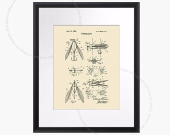 Fishing Gift Idea, Vintage Fishing Lure Patent Drawing Art Print wall Art  gift for Dad, Fishing gift idea, Fishing Lure Print #2
