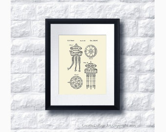 Star Wars Imperial Prob Droid Patent Art Print Star Wars Sci-Fi Movie, Star Wars Home Decor Star Wars Print #14