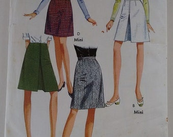 Vintage 1960's Style 2298 Sewing Pattern A Line Mod Mini and Knee Length Skirt 4 Options