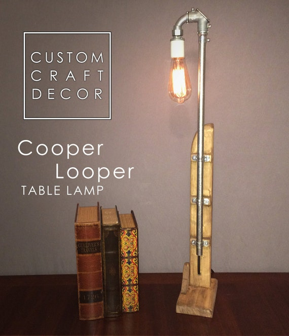Industrial decor table lamp rustic lighting vintage style for Industrial design table lamps