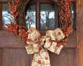 Orange Berry All Season Wreath with Owl Pattern Burlap Bow