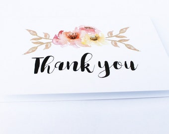Floral Thank you card - Floral greeting card