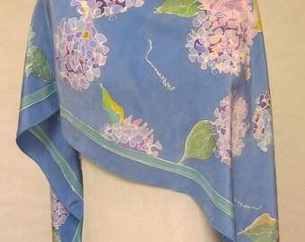 Hand painted silk Hydrangea scarf in blue