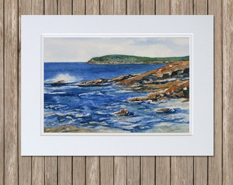 Otter Cliffs on Ocean Drive, Acadia National Park - Bar Harbor Art - Maine Seascape Watercolor Painting