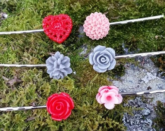 Floral Hair Pin Set, Flower Hair Accessories, Flower Hair Pins,  Floral Bobby Pins, Vintage Bobby Pins, Floral Hair Accessories, Silver Pins