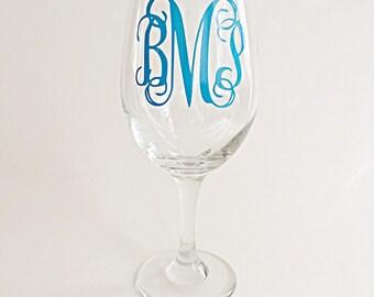 Monogram wine glass, custom wine glass, customizable wine glass, gifts for women, wedding gift, teacher gift, graduation gift, birthday gift