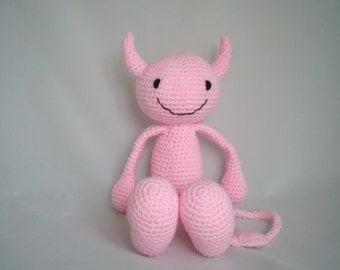 Crochet Devil soft toy /  Amigurumi Devil /  Crochet Plush Toy / Crochet Plush Devil / Amigurumi Plush / Cheeky She Devil Soft Toy in Pink.