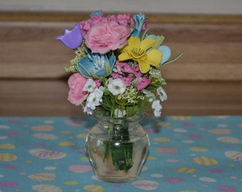 """18"""" doll spring flowers in a glass vase"""