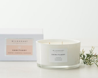Soy Aromatherapy Candle   - Jasmine, Chamomile & Rosewood ,  Essential Oils Spa style treatment