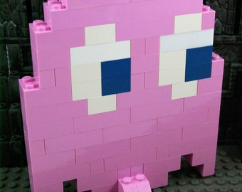 Large Pinky the pink Ghost from Pac-man with stand for your desk Handmade from Lego and Mega Bloks
