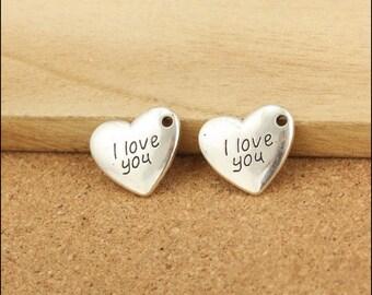 50pcs 15x17mm Antique Silver Heart Charm Pendants I Love You Charm Pendant LJ20071