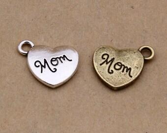20pcs 15x13mm Alloy Mom Charm Pendants Heart Charm Pendants Y4281
