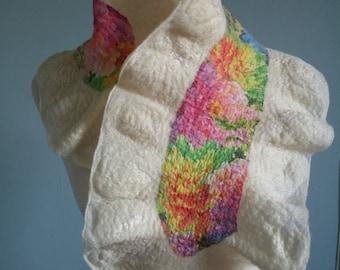 Vibrant Floral Silk Chiffon Nuno Felt Scarf OOAK