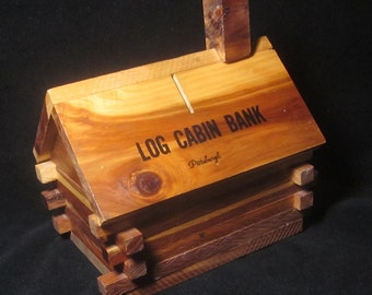 Vintage Wooden Log Cabin Bank Souvenir marked Pittsburgh
