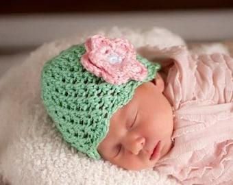 Baby Girl Hat, Toddler Hat, Crochet Baby Hat, Newborn Hat, Newborn Photo Prop, Newborn Beanie, Sage Pink, Newborn Baby Hat, Baby Newborn Hat