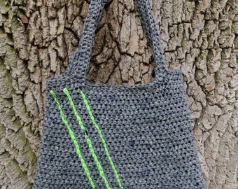 Plarn Bag/Tote Recycled - Gray with Green Accents, upcycled crocheted plarn bag/plarn tote made from plastic shopping bags