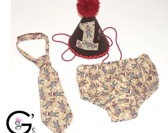 Sock Monkey Smash Birthday Outfit baby boys Toddler Photo Prop Bow Tie Diaper  Cover