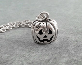 Jack O Lantern Necklace SMALL Pumpkin Necklace Jack-O-Lantern Jewelry Halloween Necklace Halloween Jewelry Halloween Gift Pumpkin Charm