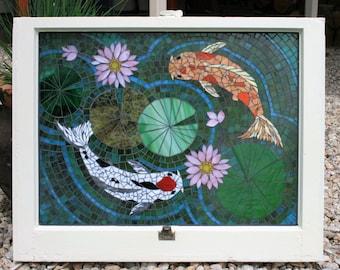 Mosaic Stained Glass Window- Koi Fish, Mosaic Glass Art, Window Art