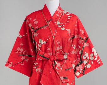 Lined Maternity Kimono Robe • Long robe Maternity Robe • Hospital Nursing • XS - Plus size • Floral cotton GG Light Red Cream Black