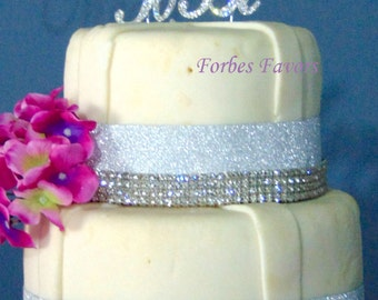 "Real Large Rhinestone Silver ""Meant To Be"" Cake Topper, Birthday, Love, Anniversay, Wedding"