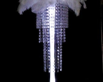 Classy Deluxe Acrylic Bead Chandelier Centerpiece With Ostrich Feather Top for Special Occasion Wedding Table
