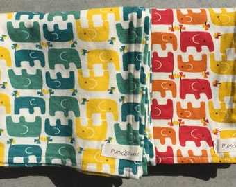 Organic Baby Blanket, Staggered Elephants