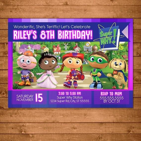 Super Why Birthday Invitation Chalkboard - Super Why Invitation - Super Why Party Favors - Super Why Party Printable - Super Why Girl Invite