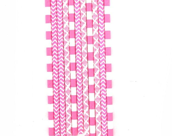 Bright Pink Straw, Decorative Straw, Hot Pink Party, Baby Shower Decor, Pink Gold Wedding, Stripe Pink Straw Pink Gold Buffet First Birthday